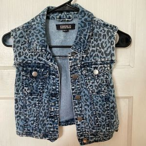 Cheetah print denim vest